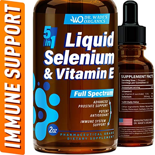 Selenium 200mcg Supplement - Excellent for Thyroid Health Support - Pure Selenium Organic Drops with Vitamin E - Made in USA - Powerful Antioxidant & Immune Support - Superior Absorption