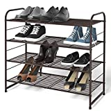 Simple Trending 4-Tier Stackable Shoe Rack, Expandable & Adjustable Shoe Organizer Storage Shelf, Wire Grid,...