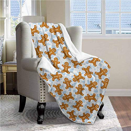 50'x65' Gingerbread Man King Size Blanket Bedding Throws Bedsheet for Kids Girls Traditional Christmas Icons Cookie Pattern Festive Tile Pale Caramel Baby Blue White