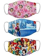 Bon Organik Disney Princess (OFFICIAL MERCHANDISE) 2 Ply Printed Cotton Cloth Face Mask Bundle For Kids (Set Of 3)