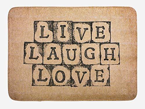 FANCYDAY live lach liefde bad mat, zwart alfabet stempels op leeftijd grungy kijken achtergrond vintage print, pluche badkamer decor mat zwart bruin