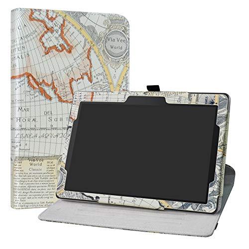 """Lenovo Tab E10 Rotary Funda,LiuShan Giratoria 360 Grados de Rotación Carcasa con Stand Soporte Caso para 10.1"""" Lenovo Tab E10 2018 Android Tablet,Map White"""
