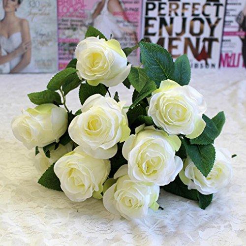 Longra Wohnaccessoires & Deko Kunstblumen Künstliche Rose Silk Blumen 5 Blüte Blatt Garten Dekoration DIY rosa Blume (09A: 1 Strauß 9 Köpfe)