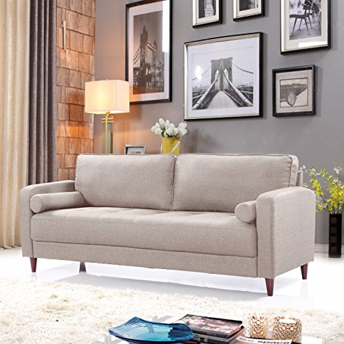 Divano Roma Furniture Middle Century Modern Linen Fabric Living Room Sofa (Beige)