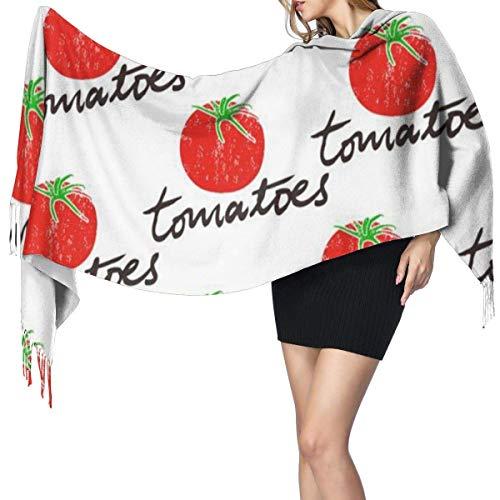 Tomates Verduras Moda para mujer Mantón largo Playa tropical Tablas de surf Bufanda de cachemira de palma Invierno Cálido Bufanda grande Caja de regalo