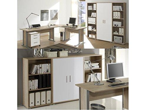 möbel-direkt Büro Office Smart Sonoma Weiß (Büro Office Smart 8 teilig Sonoma Weiß)