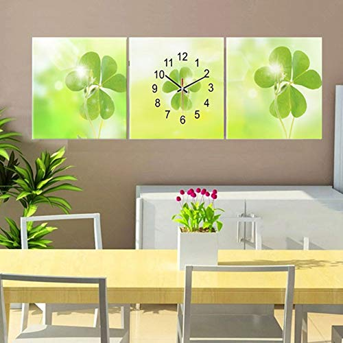 GYSS 3 panelen wanddecoratie schilderijen canvas klok klaverblad decoratieve afbeeldingen voor woonkamer