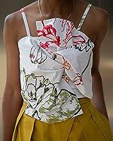The Drop Haut pour Femme, Court, avec Nœud sur le Devant, Blanc à Imprimé Floral, par @signedblake, Taille S