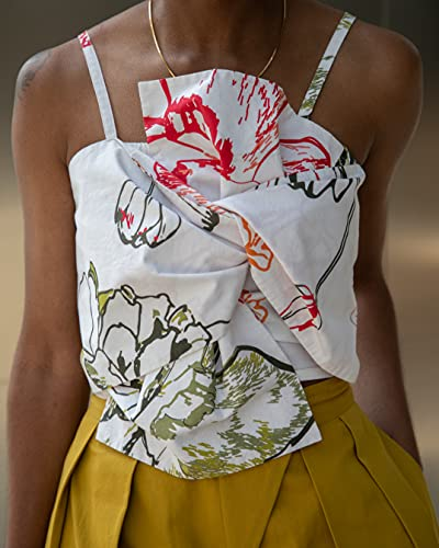 The Drop Women's White Floral Print Bow-Front Cropped Top by @signedblake, L