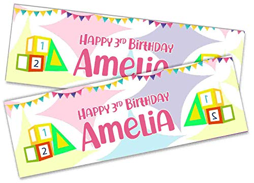 x2 Personalised Birthday Banner Blocks Design Children Kids Party Decoration Poster 22 (Small-3ftx1ft.)