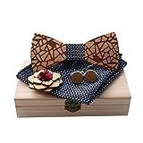 Para hombre de la pajarita Set Pañuelo de corbata de moño for hombre, mancuernas y boutonniere con caja de madera, paquete de adultos hechos a mano, longitud ajustable for cualquier ocasión formal Gru