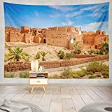 Duanrest Tapiz de Pared,Antiguo-CastilloCiudad Tradicional Antigua Marruecos África Antigua Turismo Tapiz para el hogar 229x152cm