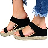 Hosamtel Wedges Shoes for Women Sandals,2020 Summer Open Toe Breathable Beach Sandals Slip-On Straw Casual Wedges Shoes Black