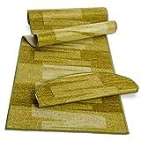 Stufenmatte mit Pinselstrich Muster | Grün | Qualitätsprodukt aus Deutschland | GUT Siegel | kombinierbar mit Läufer | 65x23,5 cm | halbrund | einzelne Matte
