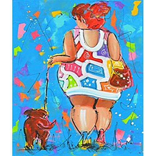 Schilderij voor dames en honden, 5D, DIY diamanttekening, ronde diamant op nummers, pasta kunst, fotobehang, kruissteek, borduurwerk, decoratie thuis 40cmx50cm