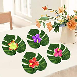 Hancend Green Leaves-60PCS Tropical Green Leaves Silk Flower for Summer Party Decorations