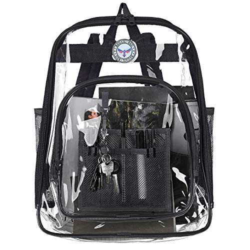 BAGAIL Clear Backpack Heavy Duty See Through Transparent Daypack Student School Bookbag