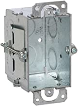 Hubbell-Raco 506 Switch Box in 3 x 2-Inch Gangable 2-1/2-Inch. Deep, Eight 1/2-Inch. Knockouts, Old work, Plaster Ears, Gray Finish