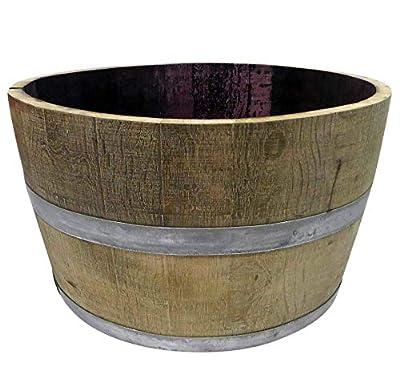 "MGP Genuine Oak Wood Half Wine Barrel Planter, 27"" W x 16"" H"