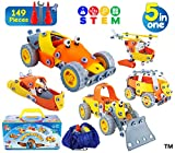 149 Pcs Creative DIY STEM Construction Toys for Boys Girls Age 7 8 9 10 YO - Educational Engineering Building Set - 5in1 Erector Kids Birthday Kit - Build and Play Vehicles Models in Storage Gift Box