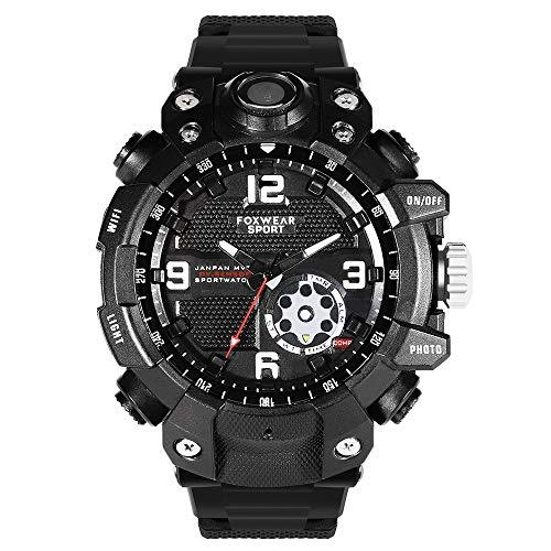 QYSHH Smartwatch, Relojes Inteligentes, Reloj con Cámara Deportiva, 1080P HD 30 Cuadros HD Video 2.6K IP67 a Prueba de Agua, Sincronización de Grabación de Cámara con un Botón, Conducción, Ciclismo
