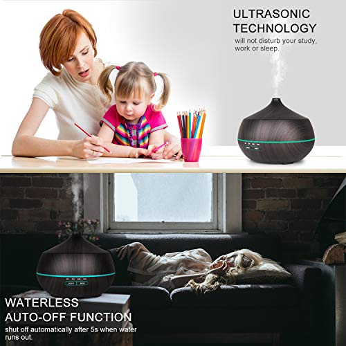 Tenswall Aromatherapy Essential Oil Diffuser, 400ml Aromatherapy Diffuser Ultrasonic Cool Mist Humidifier, Auto Shut-Off, 4 Timer Settings,7 Color LED Lights Changing for Office Home Baby