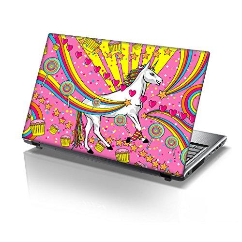 TaylorHe - Adhesivo de vinilo para ordenador portátil de 15,6 pulgadas con patrones coloridos y efecto piel laminado fabricado en Italia Sparkles Unicorn