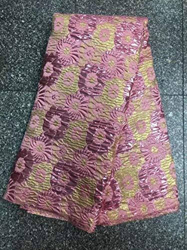 La última tela de jacquard Brocade Lace Tissu Tela de encaje neta de tul africana de mayor venta Brocade Fabric para boda nigeriana, 1