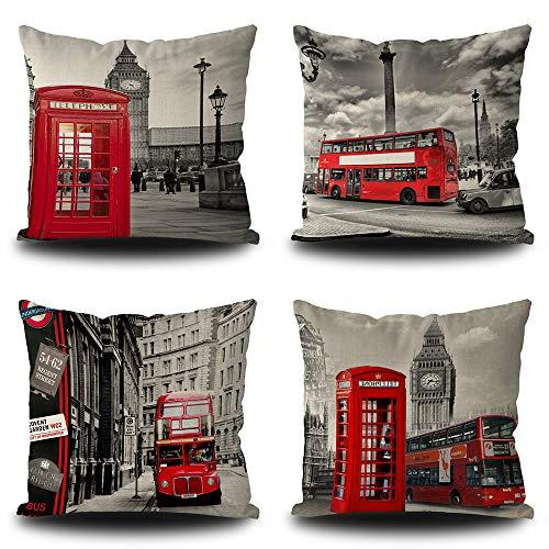 Bageyou - Set di 4 federe per cuscino, motivo autobus di Londra e cabina telefonica Big Ben, quadrate 40 x 40 cm, con stampa a doppio lato, per letto e divano