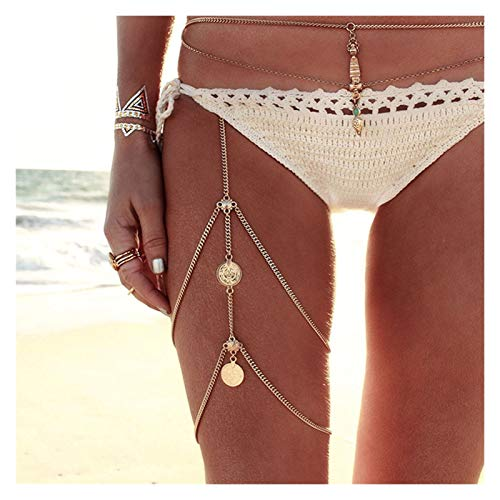 TZZD Leg Ketten Münzen Anhänger Crossover Harness Gürtel Ketten-Weinlese-Bikini-Schenkel-Bein Ketten Körperschmuck for Partei (Farbe : 1)