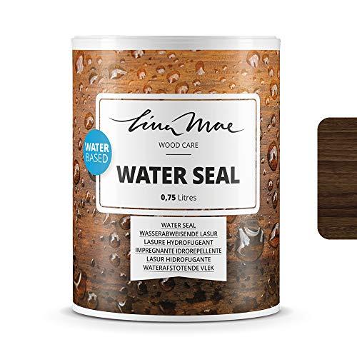 Wasserabweisende Lasur (Lack) mit Satinierung Oberfläche Wasserbasiertem - Wasserdichter Schutz mit Perleffekt.Ideal für Holz: Möbel, Tische, Stühle, Pergolen und Fenster (750 ml, Nussbaum)
