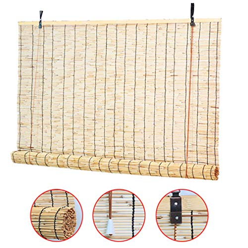 KDDFN Roman Blinds Louver Window,Bamboo Roller Blinds Bamboo Curtain Natural Reed Curtain,Reed Straw Blinds,Shading Rate 70%,for Living Room/Office/Terrace,Customizable (80x110cm/31x43in)