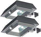 Lunartec Hauswand Beleuchtung: 2er-Set 2in1-Solar-LED-Dachrinnen- & Wandleuchten, je 300 lm, schwarz (Solar-LED-Dachrinnenleuchten)