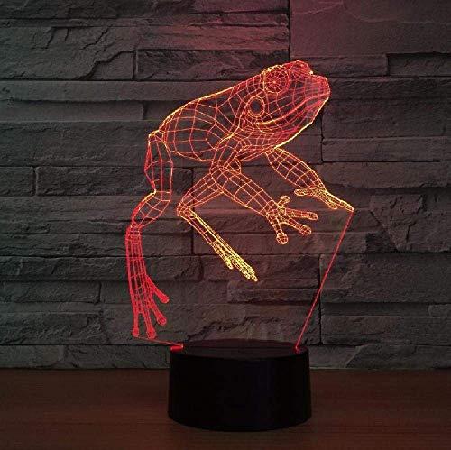 Lámpara 3D Con Cambio Gradual De Siete Colores Atmósfera Led Animal Frog Lámpara De Noche Decoraciones Regalo Para Luces De Habitación De Bebé