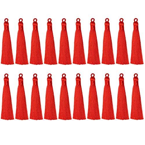 20本 光沢素材 タッセル 手芸 アクセサリーパーツ カーテン 房飾り フリンジ DIY クラフト?材料 手作り 雑貨 (レッド)