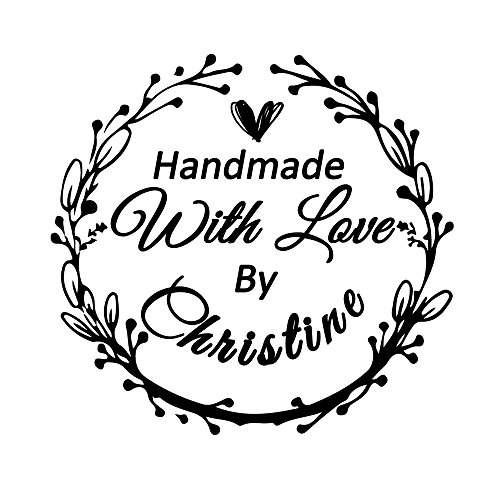 Wedding Business Stamper Personalized Custom 42mm Round Handmade with Love by Name Design Family...