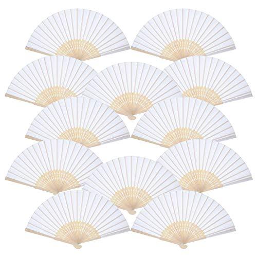 O-Kinee Ventaglio per Mani, Carta Bianca Cinese Vuota Fans Fai da Te Nastro di Carta Folding Fan Matrimonio ventaglio Chiesa Bambini (16 Pezzi)