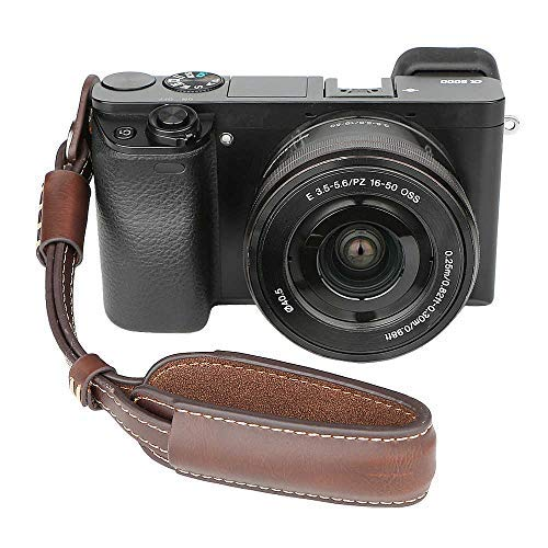 Leather Camera Hand Wrist Strap Adjustable Camera Strap for A6000 A6300 A6500 X100F X100T X100S X100 X-T2 X-T10 X-T20 X-E2 X-E3 and Other Mirrorless Cameras (Coffee)