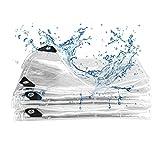 Herefun Lona transparente grande resistente al agua con ojales, 2 x 2 m, PVC impermeable, 463 g/m², lona transparente, lona de plástico transparente, resistente a la intemperie y a la rotura