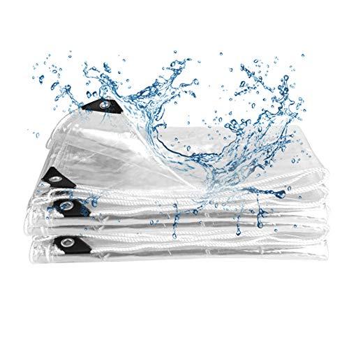 Herefun PVC Pieghevole Antipioggia Telone, 2mx2m 463g/m² Telone Impermeabile Trasparente con Occhielli Telone PVC Trasparente Tarpaulin Trasparente in PVC Resistente Alle Intemperie Antipioggia