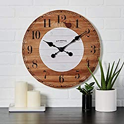 Old Dominion Clock Co. Handmade Rustic Clock - 18 Inch - Genuine Wood -Classic Black Numbering - Farmhouse Wall Clock - Rustic Room Decor - Silent Hardware - Natural Brown & White Design