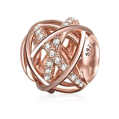 Soulbeads Jewelry Galaxy ciondoli traforata, in argento Sterling 925con zirconia cubica trasparente per braccialetti e Base, colore: Rose Gold, cod. SB