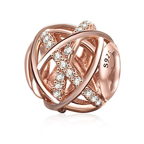 SOUKISS Rose Gold Galaxy Charm Authentic 925 Sterling Silver Openwork Charms with Clear CZ for European Bracelet