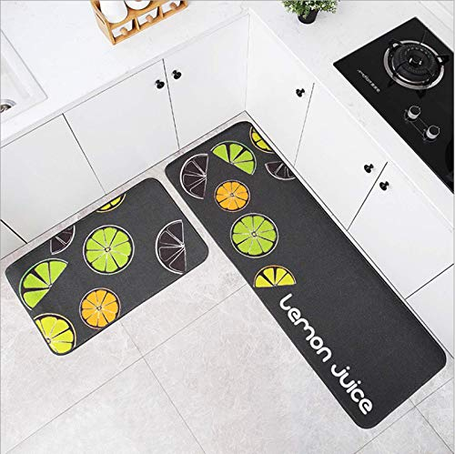 Kitchen Mat Cute Fruits and Lemon Cushioned Anti-Fatigue Kitchen Rug 2 PCS Waterproof Non-Slip Kitchen Mats and Rugs Ergonomic Rug Comfort for Kitchen Floor Home Office Sink Laundry