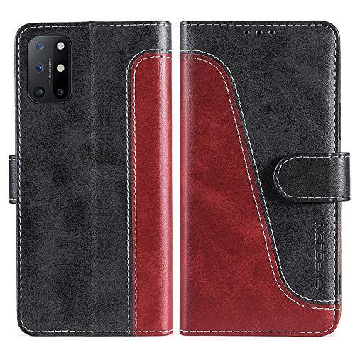 FMPCUON Handyhülle für OnePlus 8T 5G Hülle Leder,Premium Klapphülle Handytasche Flip Hülle Handy Hüllen Schutzhülle für OnePlus 8T 5G,Rot/Schwarz