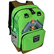 "JINX Minecraft Pickaxe Adventure Kids School Backpack, Green, 17"""