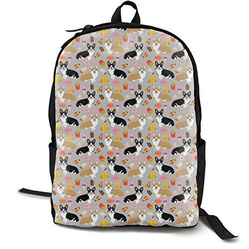 Corgi Pizza Kids Backpack Lightweight School Bookbag Fashion Travel Daypack