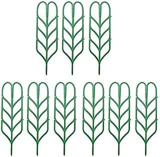 ETAI DIY Garden Plant Pot Plastic Leaf Shape Plant Support Mini Climbing Trellis Flower Supports Green (9Pcs)