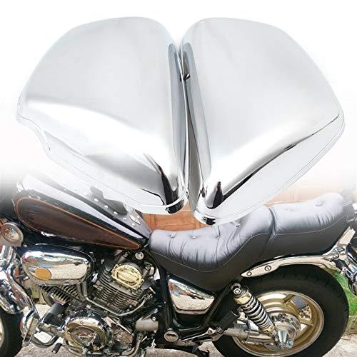 Motocicleta molduras Cromo de la motocicleta de la batería de la cubierta lateral izquierda y derecha protección de la batería de la cubierta en forma for Yamaha XV 700 750 1000 1100 1984 Virago-Up