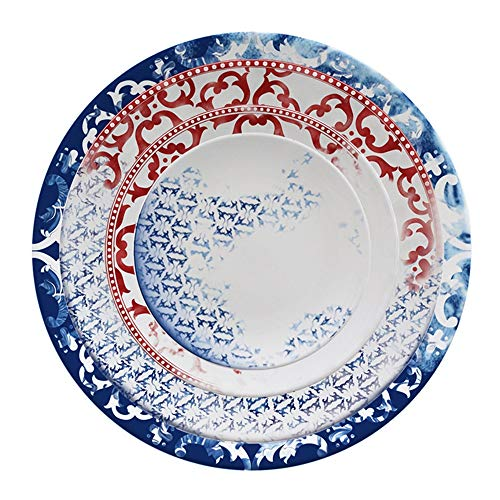 Sunbobo Table Decoration Plate Estilo Claro Lujo 4 Piezas de Porcelana de Hueso del vajilla del hogar Filete Placa Placa de cerámica Western Steak Plate (Color : Multi-Colored, Size : One Size)